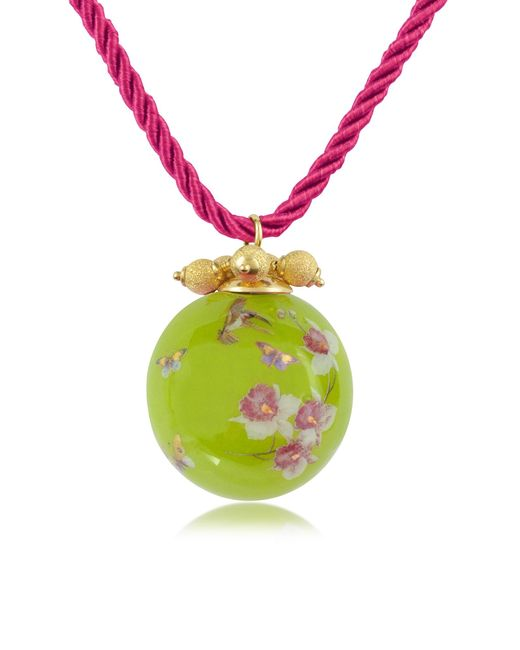 Naoto | Green Alchimia - Round Gold Foil Pendant With Lace | Lyst
