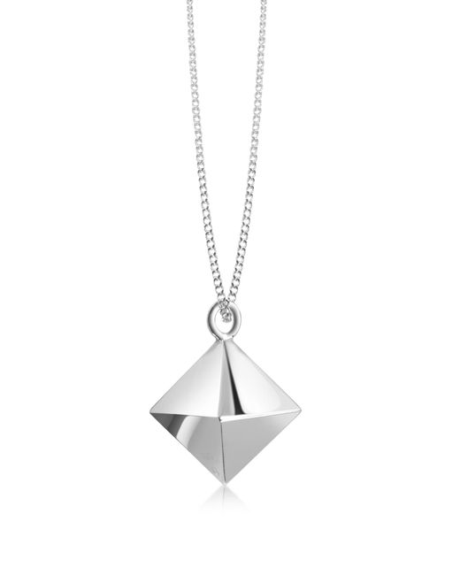 Origami Jewellery | Metallic Sterling Silver Decagem Pendant Long Necklace | Lyst