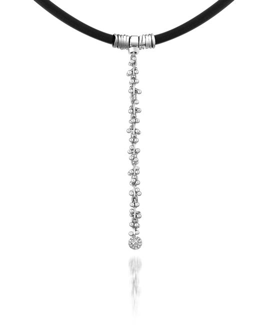 Orlando Orlandini   Metallic Flirt - Diamond Drop 18k White Gold And Rubber Necklace   Lyst