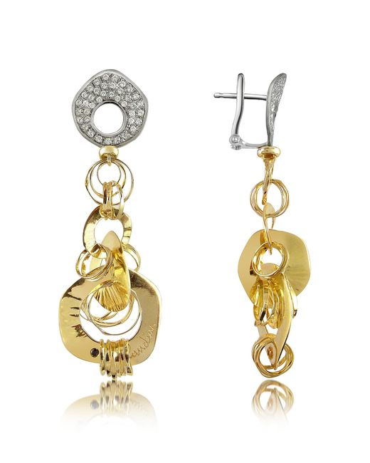 Orlando Orlandini - White Fashion - Diamond 18k Two-tone Gold Drop Earrings - Lyst