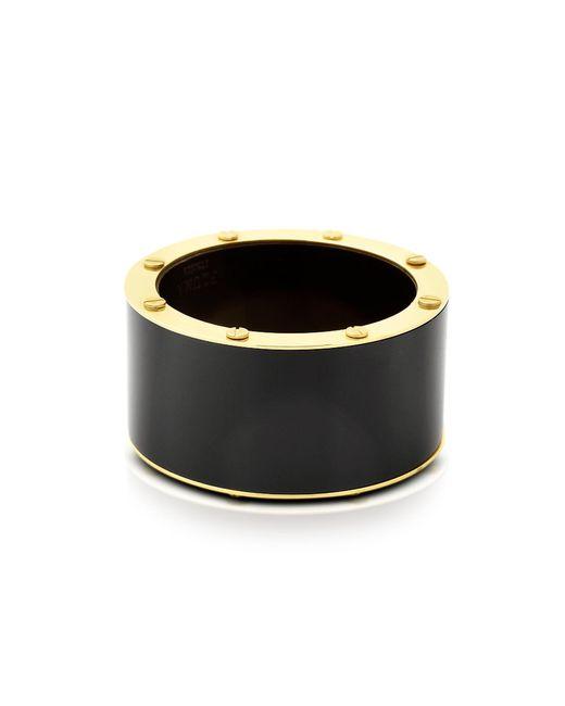 Pluma   Black Resin And Brass Double Viti Large Bangle   Lyst