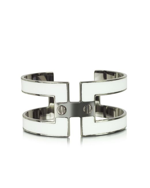 Pluma | Metallic White Brass Double Viti Small Cuff In Fumoso | Lyst