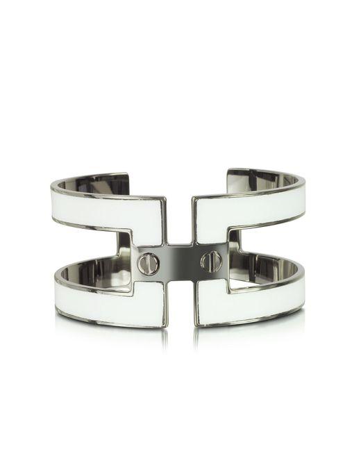 Pluma | White Brass Double Viti Small Cuff In Fumoso | Lyst