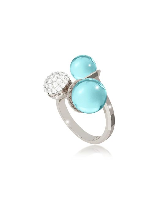 Rebecca | Blue Boulevard Stone Rhodium Over Bronze Ring W/hydrothermal Turquoise Stones And Cubic Zirconia | Lyst
