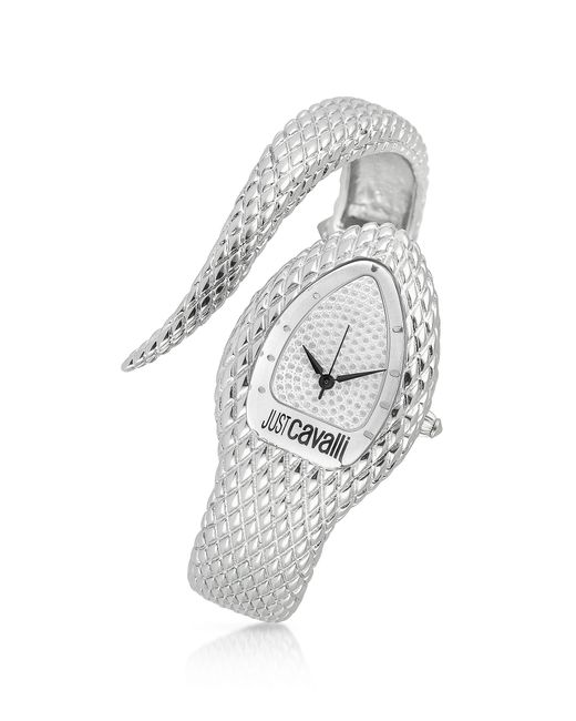 Just Cavalli | Metallic Poison Silver Serpent Bracelet Watch | Lyst