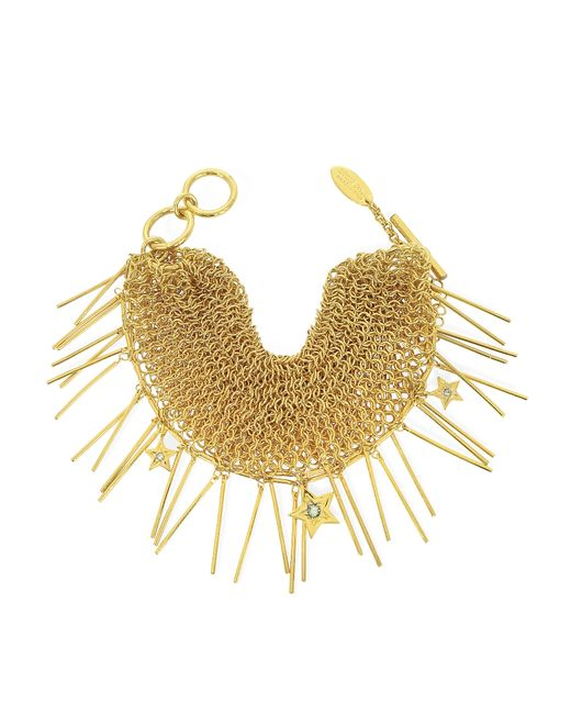 Roberto Cavalli | Metallic Lux Golden Metal Mesh Bracelet W/crystals | Lyst