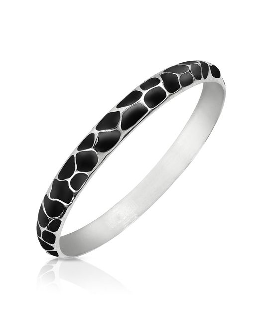 Just Cavalli | Metallic Black Giraffe Patterned Stainless Steel Bangle Bracelet | Lyst