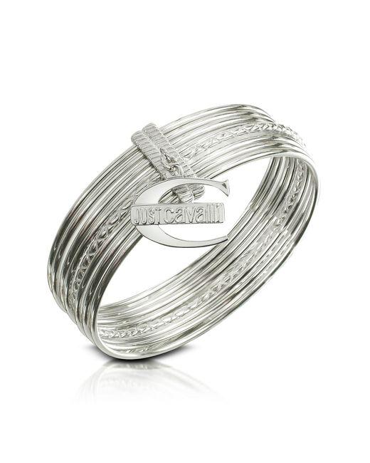 Just Cavalli | Metallic Infinity - Logo Charm Stacked Bangle Bracelet | Lyst
