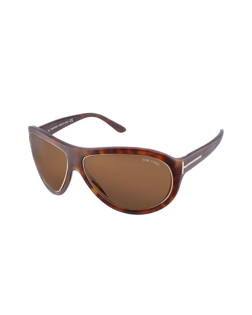 Tom Ford | Brown Angus - Metal Trim Logoed Temple Teacup Sunglasses | Lyst