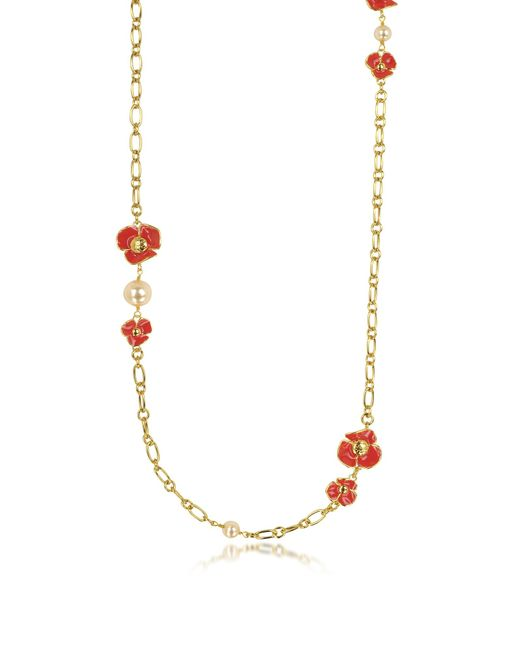 Tory Burch | Red Fleur Rosary Long Necklace | Lyst