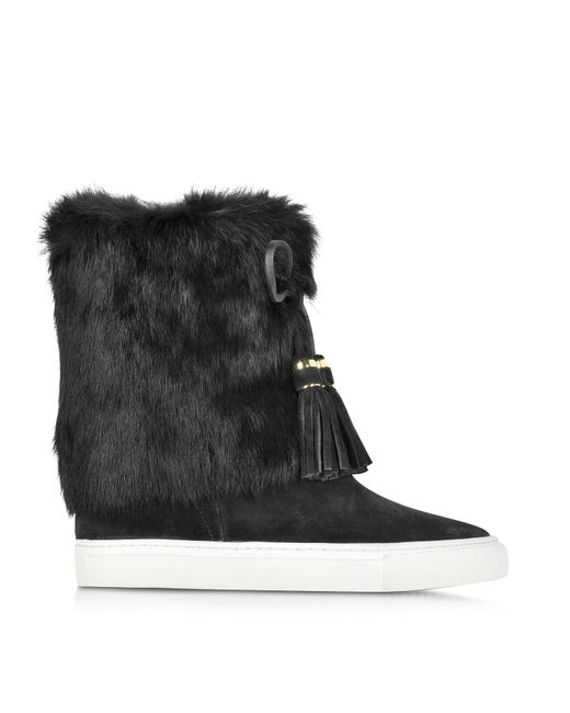 Tory Burch - Black Anjelica Suede and Rabbit-Fur Boots - Lyst