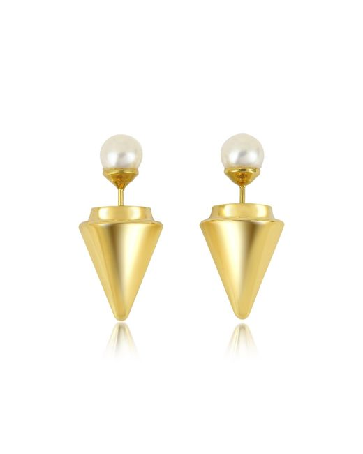 Vita Fede | Metallic Gold Plated Double Titan Pearl Earrings W/akoya Pearls | Lyst