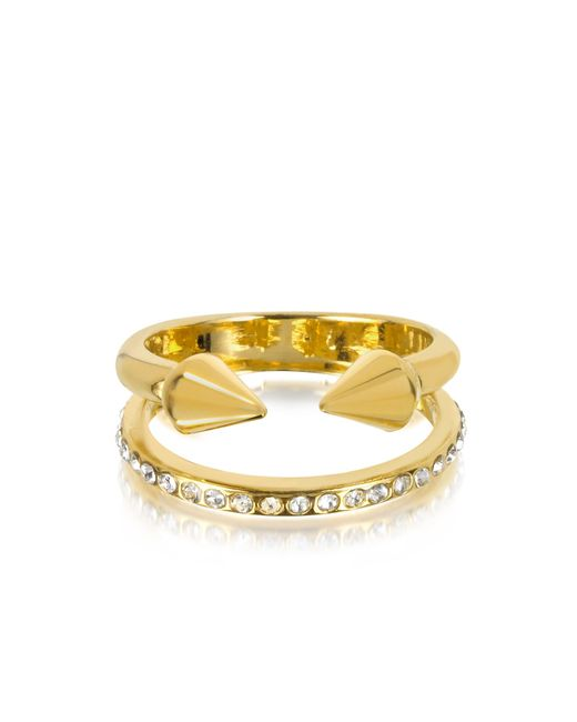 Vita Fede | Metallic Ultra Mini Gold Tone Titan Band Ring W/crystals | Lyst