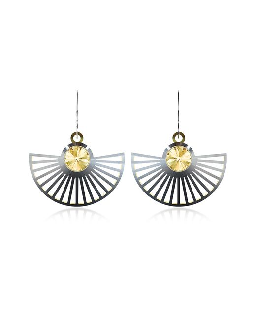 Vojd Studios | Metallic Phase Precious Sterling Silver Fan Dangle Earrings | Lyst