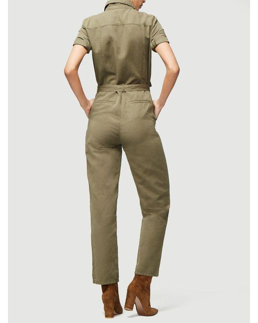 894d60f6b4a9 FRAME Short Sleeve Belted Jumpsuit in Green - Save 37% - Lyst