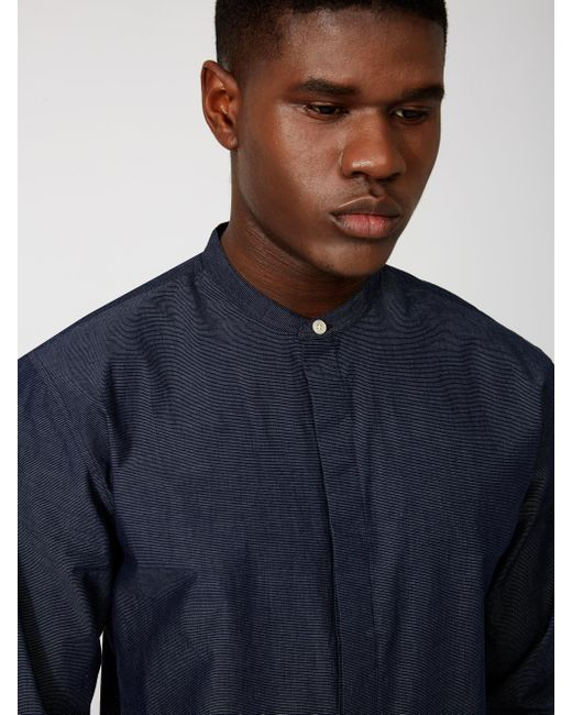 Frank oak long tail band collar shirt in navy in blue for Frank and oak shirt