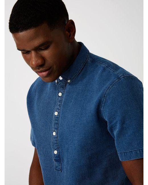 Frank and oak denim piqu popover in blue for men lyst for Frank and oak shirt