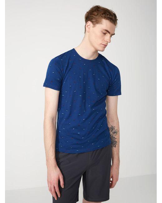 Frank oak calder print cotton blend t shirt in navy in for Frank and oak shirt
