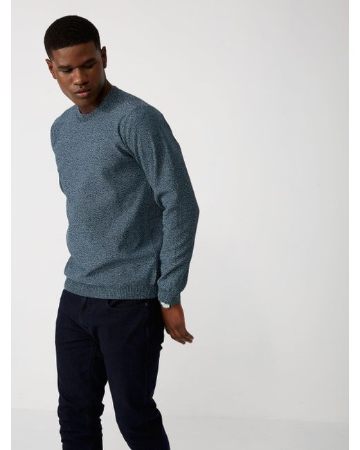 Frank oak liteweave crewneck in mixed teal in blue for for Frank and oak shirt