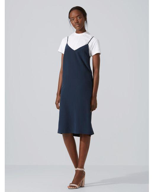 Frank And Oak   Blue Silk Midi Slip-dress In Dark Sapphire   Lyst