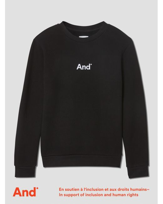 """Frank And Oak - """"and"""" Man French Terry Crewneck In Black for Men - Lyst"""