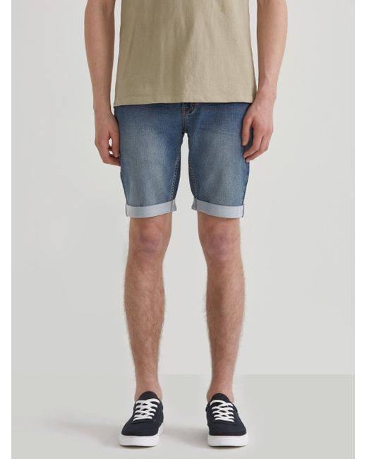 Frank And Oak - Blue French Terry Denim Shorts In Washed Indigo for Men - Lyst