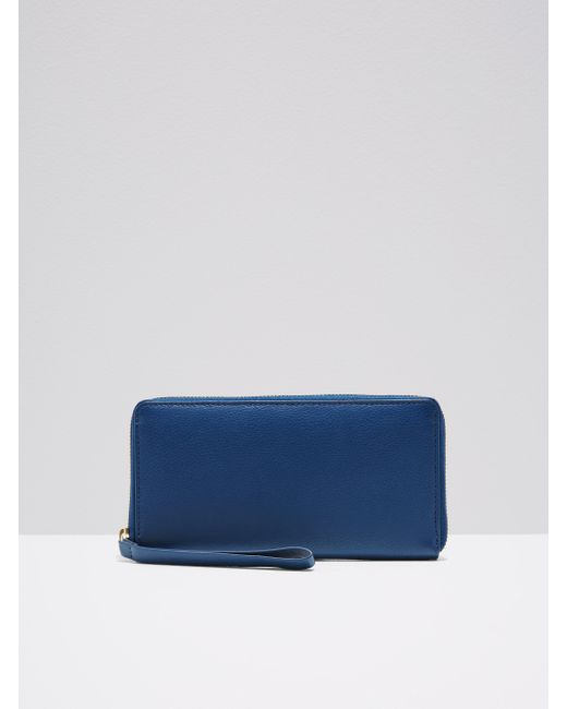 Frank And Oak | Blue The Citta Leather Zip Wallet In Indigo | Lyst