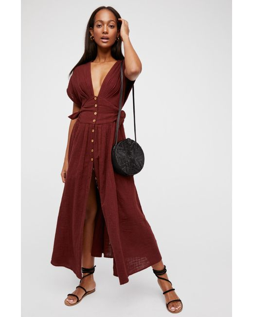 Free People - Red Jacinta Midi Dress - Lyst