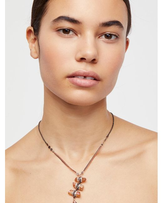 Free People - Metallic Washed Ashore Ladder Necklace - Lyst