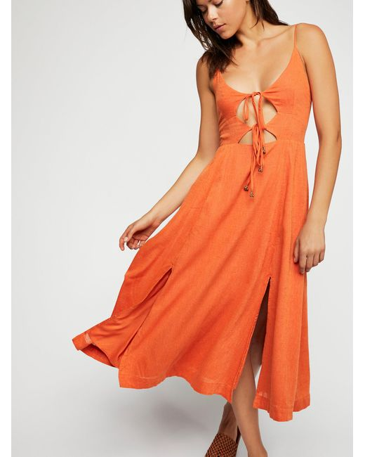 Free People - Orange Solace Midi Dress - Lyst