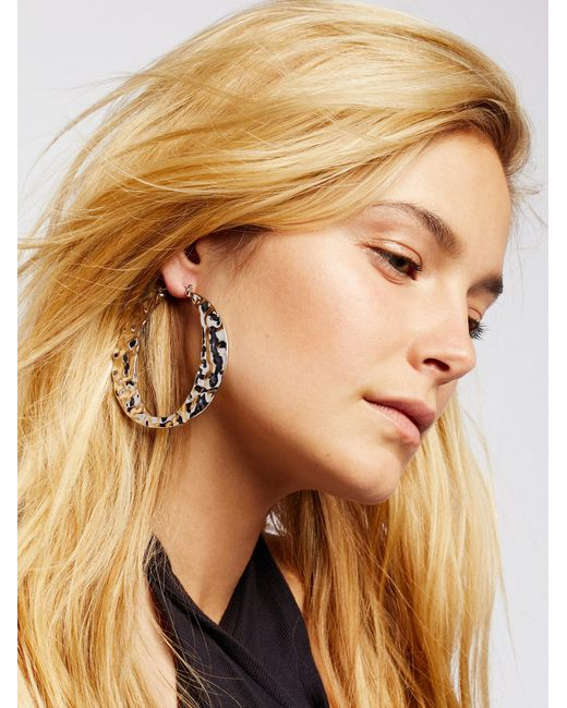 Free People | Metallic Liquid Metal Hoops | Lyst