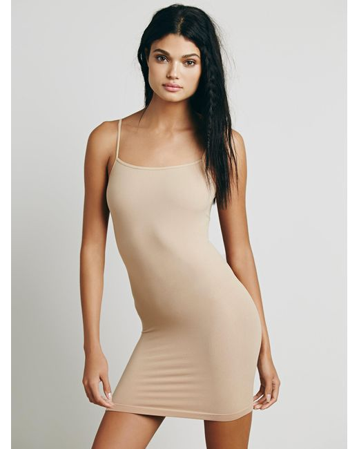 Free People - Natural Seamless Low Back Mini Slip - Lyst
