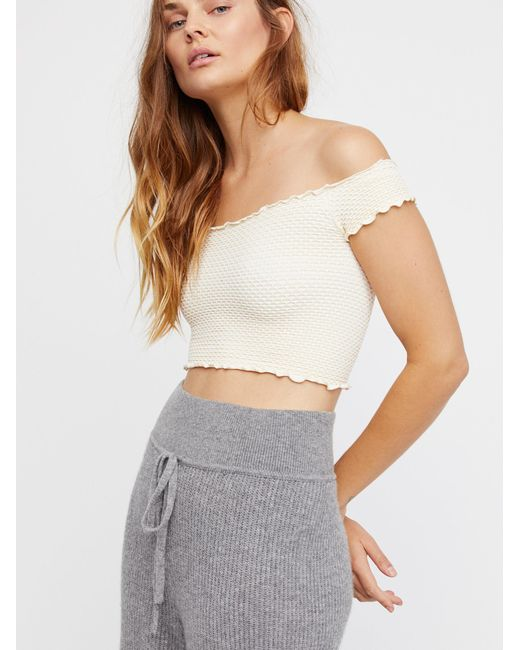 Free People - White Smocked Seamless Crop Top - Lyst
