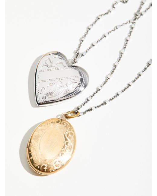 Free People | Metallic Shimmer Chain Locket Necklace | Lyst