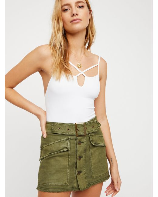 Free People - Green Hanging On Tight Mini Skirt - Lyst