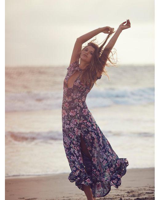 Free People | Blue Flora Maxi Dress | Lyst