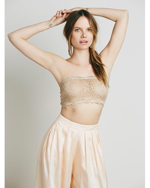 Free People | Brown Seamless And Lace Reversible Bandeau | Lyst