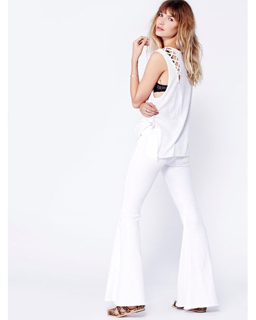Free People - White Denim Super Flare Jeans - Lyst