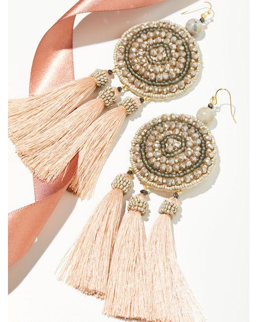 Free People | Metallic Winona Embellished Tassel Earrings | Lyst