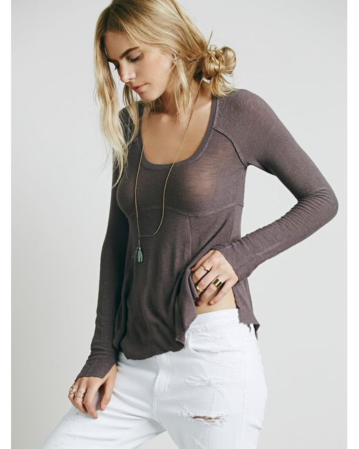 Free People | Gray Super Scoop Top | Lyst