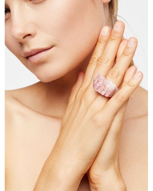 Free People - Pink Carved Raw Stone Ring - Lyst