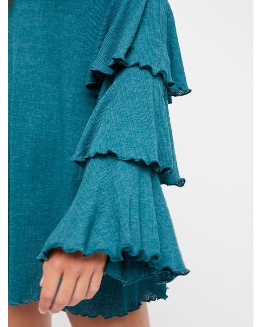 Free People - Blue Seashore Mini Dress - Lyst