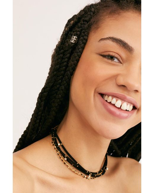 Free People Black Serefina Layer Necklace