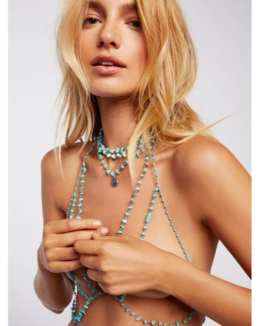 Free People | Brown Raw Turquoise Stone Halter | Lyst