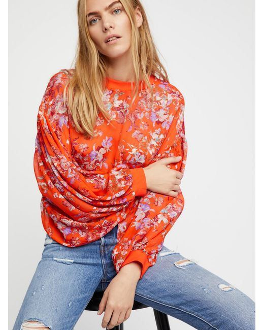 Free People   Red Clothes Tops & Tees Blouses Dancing Dreams Blouse   Lyst
