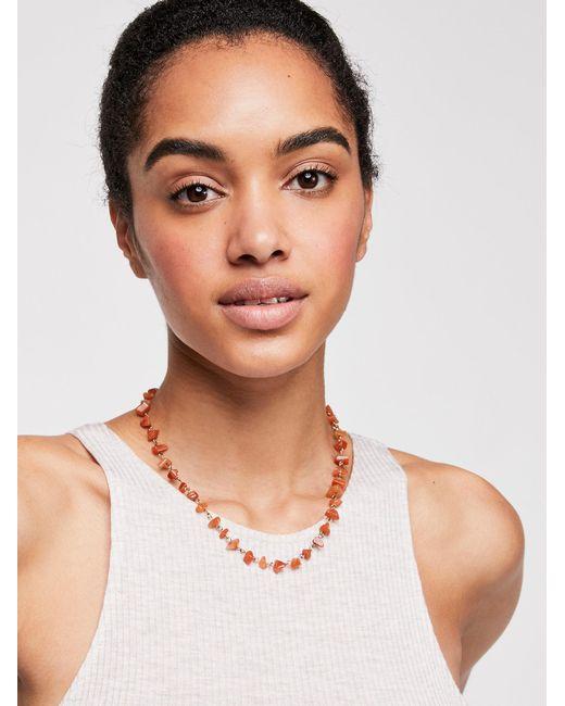 Free People - Metallic Raw Stone Necklace - Lyst