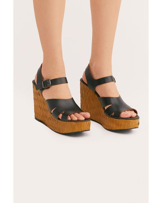 40d9a4838ae Free People - Black Sunflower Wedge Sandal By Fp Collection - Lyst ...