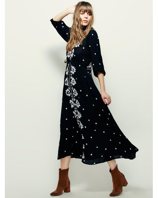 Free People   Black Embroidered Fable Dress   Lyst