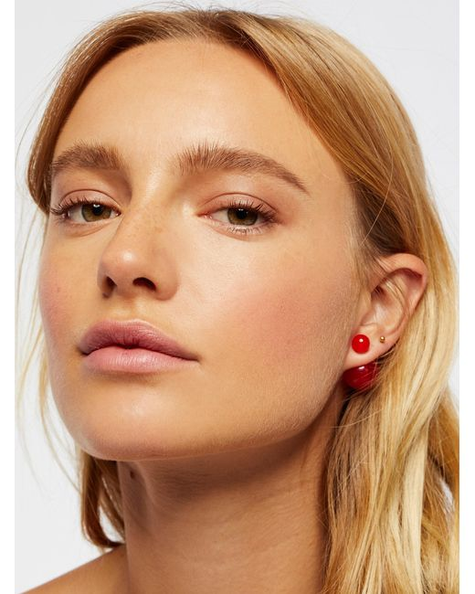 Free People | Red Double Sided Orbit Studs | Lyst