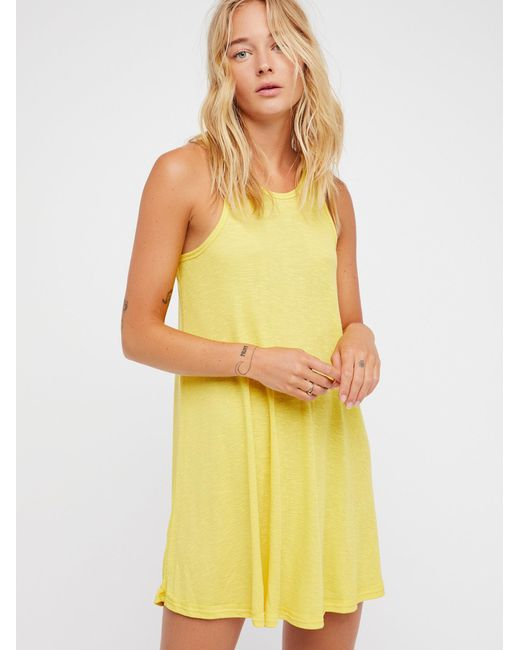 Free People - Yellow La Nite Mini Dress - Lyst